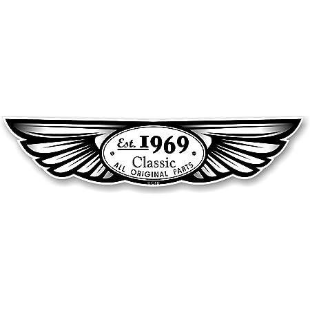 Die Traditionellen Geflügelten 1969 Emblem Design Für Motorrad Biker Helm Auto Aufkleber Vinyl Aufkleber 130 X 30 Mm Auto