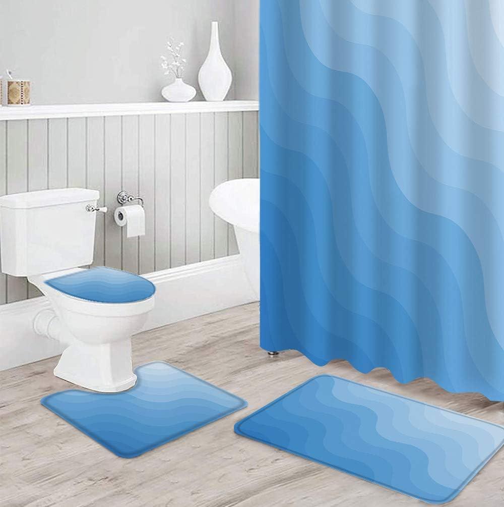 Special price IDOWMAT 4 Piece Shower Curtain Sets Pattern Gradient Blue S Wave Luxury goods