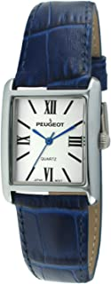 Peugeot Women's Silver-Tone Tank Shape Leather Dress Watch with Roman Numerals