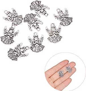 Luckycivia 100 Pcs Angel Metal Charms, Silver Guardian Angel Pendant, Alloy Angel Charms for Jewelry Making Bulk Ornaments (Silver)