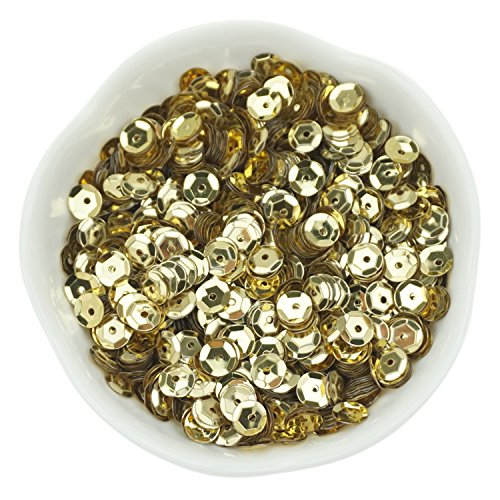 Bilipala Bulk Gold Sequins, Iridescent Spangles For DIY Crafts, Embroidery, 6mm, About 3000 Pieces