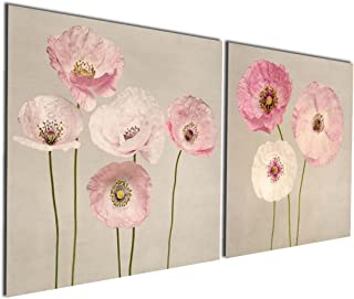 Gardenia Art - Pink Flowers Modern Canvas Wall Art Paintings Red Flowers Artwork for Bedroom Living Room Decoration,16x16 inch per Piece, Stretched and Framed, Ready to Hang