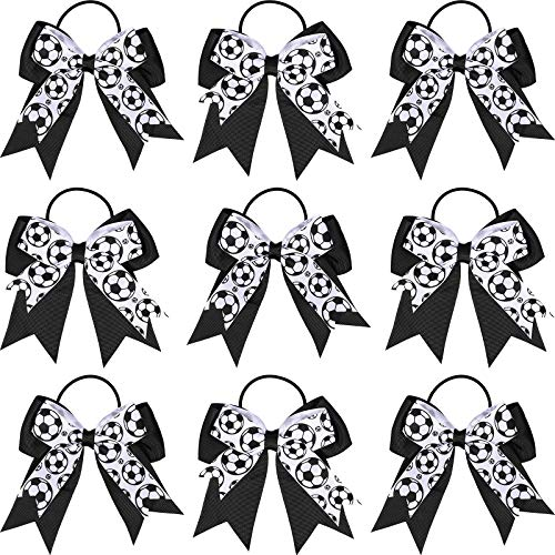 10 Pieces Soccer Hair Bows Soccer Sport Hair Ties Elastic Soccer Hair Bands Ponytail Holders Soccer Sport Hair Accessories Soccer Bows for Girls Players Teams, Black and White