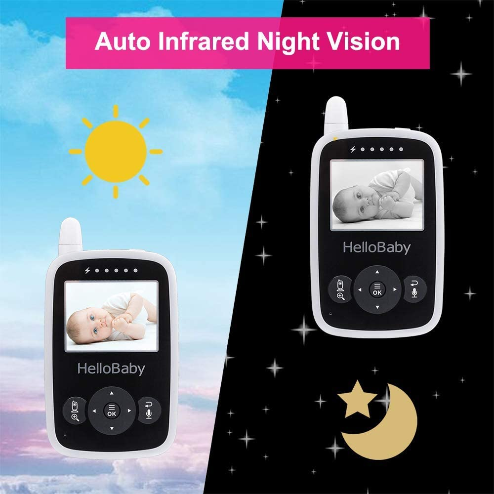 HelloBaby Video Baby Monitor with Camera and Audio - Infrared Night Vision   Two-Way Talk   Room Temperature   Lullabies   Long Range and High Capacity Battery