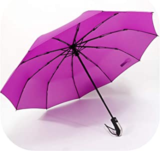Fully Automatic Three Folding Male Commercial Compact Large Strong Frame Windproof 10Ribs Gentle Black Umbrellas,Red2