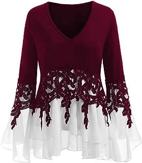 Fashion Womens Casual Applique Flowy Chiffon V-Neck Long Sleeve Blouse Tops