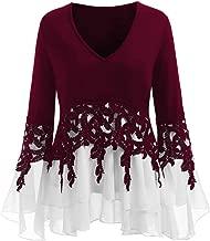 Limsea Women Tops Fashion Long Sleeve Applique Flowy Chiffon V-Neck Blouse