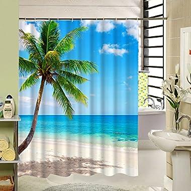 BeachShowerCurtainPalmTreeDecorativeTheme,3dPolyesterFabricPringingTropicalDesignwith12PlasticHooks,72x72inch,GreenBlue