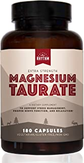 Magnesium Taurate - 450mg of Magnesium Taurate for Heart, Stress, Anxiety, Restless Leg, Sleep Support (180 Capsules) Made...