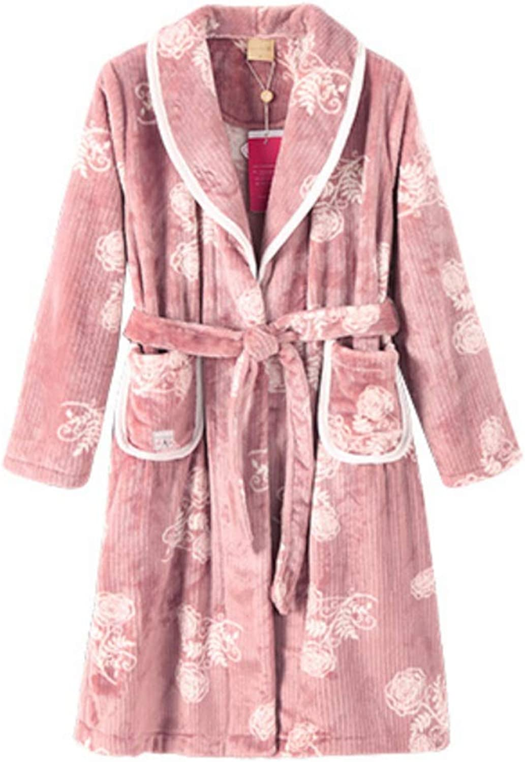 NAN Liang Autumn and Winter Bean Dark color Nightgown, Long Sleeve Thick Sweet Pajamas, Ladies Long Section Warm Home Service Bathrobe Soft (Size   L)