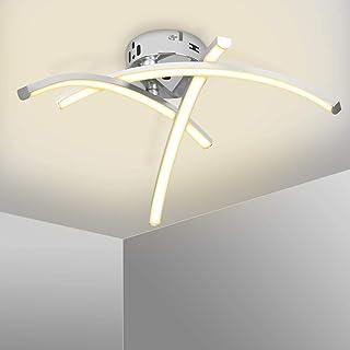Kingwei Lámpara de techo LED 18W, Plafon led techo moderno 2700K Luz blanca cálida, Plafones de techo de diseño curvo con 3 placas para salón dormitorio escalera pasillo