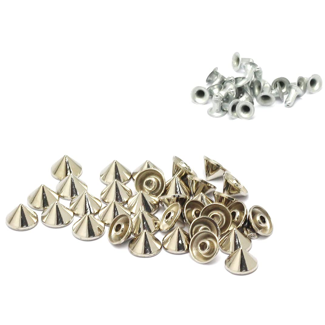 RuiLing 100pcs Cone Studs Rivet Bullet Spikes Rapid Rivets Rock Leathercraft Decorations Accessory Handmade DIY Crafts for Punk Jewelry Shoes Clothes Bags Garment 10x7mm Silver