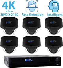 GW Security 8 Channel 4K NVR 8MP (3840x2160) H.265+ IP PoE Security Camera System with 6 UHD 4K 2.8-12mm Varifocal Zoom 8.0 Megapixel Weatherproof Dome Camera, Face Recognition, Intelligence Analytics