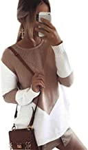WAWJIR Women Cute V Color Block Sweaters Long Sleeve Crew Neck Loose Knit Pullovers