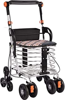 DHINGM Old-Age Shopping Cart, Old-Fashioned Trolley, Grocery Shopping Foldable Walker, Lightweight Steel Frame, Ring Push-Type Lockable Brake, to Meet Your Needs, Waterproof, Washable