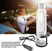 Car Electric Kettle, 12V / 24V 75W 280ml Car Heating Cup Travel Tea Mug Water Heating Bottle Holder for Boil Water, Soak Instant Noodles, Tea, Coffee, Milk(Silver)