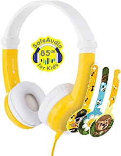 ONANOFF BuddyPhones Connect Foldable - Kids Volume Limiting Headphones - Built-in Audio Sharing Cable and in-Line Mic - Compatible with Fire, iPad, iPhone, and Android Devices - Yellow
