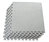 Kobo AC-62 Puzzle Exercise Mat, EVA Foam Interlocking Tiles, Protective Flooring for Gym Equipment and Cushion for Workouts (6 Feet x 4 Feet) (Grey)