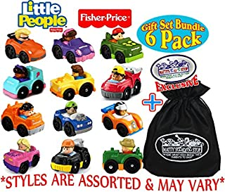 Fisher-Price – Vehículos pequeños, juego de regalo con bolsa de almacenamiento Matty's Toy Shop, 6 unidades, (estilos variados)