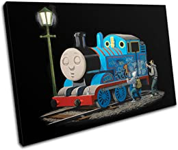 Bold Bloc Design - Thomas Tank Engine Banksy Painting 75x50cm Single Canvas Art Print Box Framed Picture Wall Hanging - Ha...