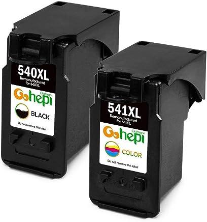 Gohepi Remanufacturados Canon PG-540 CL-541 Cartuchos de tinta Compatible para Canon Pixma MG3650 MX475 MG3550 MG4250 MG3150 MX375 MG3600 MX395 MG2250 MG3100 MG3250 MG3500 MX535 (1 Negro,1 Tricolor)