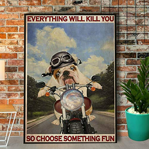"""BCTS Póster de Bulldog para decoración de pared, diseño de motocicleta con texto en inglés """"Choose Something Fun"""" (20,3 x 30,5 cm)"""