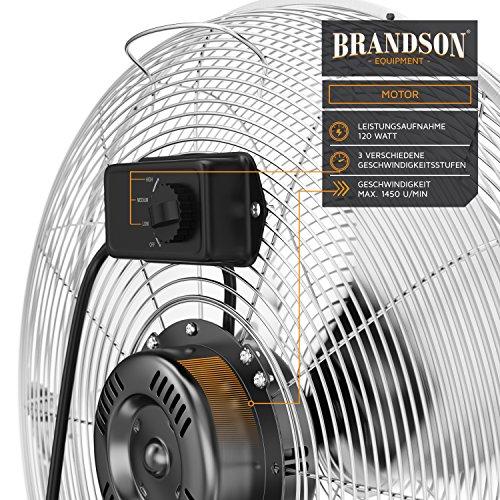 Brandson – Windmaschine Retro Stil 120 Watt | Ventilator in Chrom | Standventilator 50cm | Bodenventilator | hoher Luftdurchsatz | stufenlos neigbarer Ventilatorkopf | silber kaufen  Bild 1*