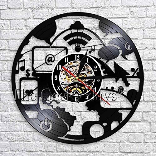 wtnhz Reloj de Pared con Disco de Vinilo LED Reloj de Pared con Disco de Vinilo para Reloj De Pared De Vinilo Reloj de Pared para decoración del hogar