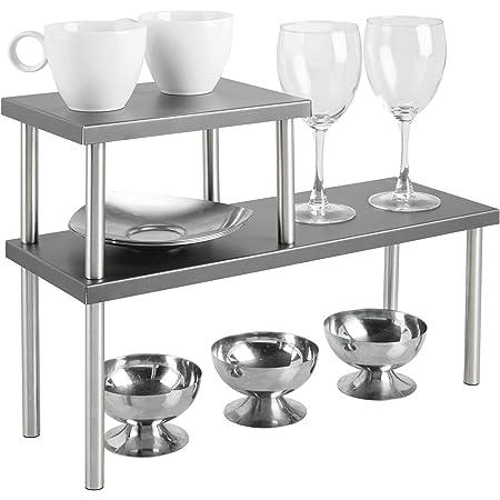 mDesign étagère cuisine à 2 étages – range vaisselle étroit pour plans de travail et dans les armoires – rangement cuisine à deux étages en métal et acier inoxydable – gris foncé/argenté mat