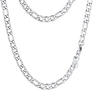 PROSTEEL Stainless Steel/925 Sterling Silver Figaro Chain...