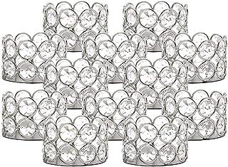 VINCIGANT Candelabro Candelabros para mesas de plata 12 piezas Set de adornos de cristal para sala de estar