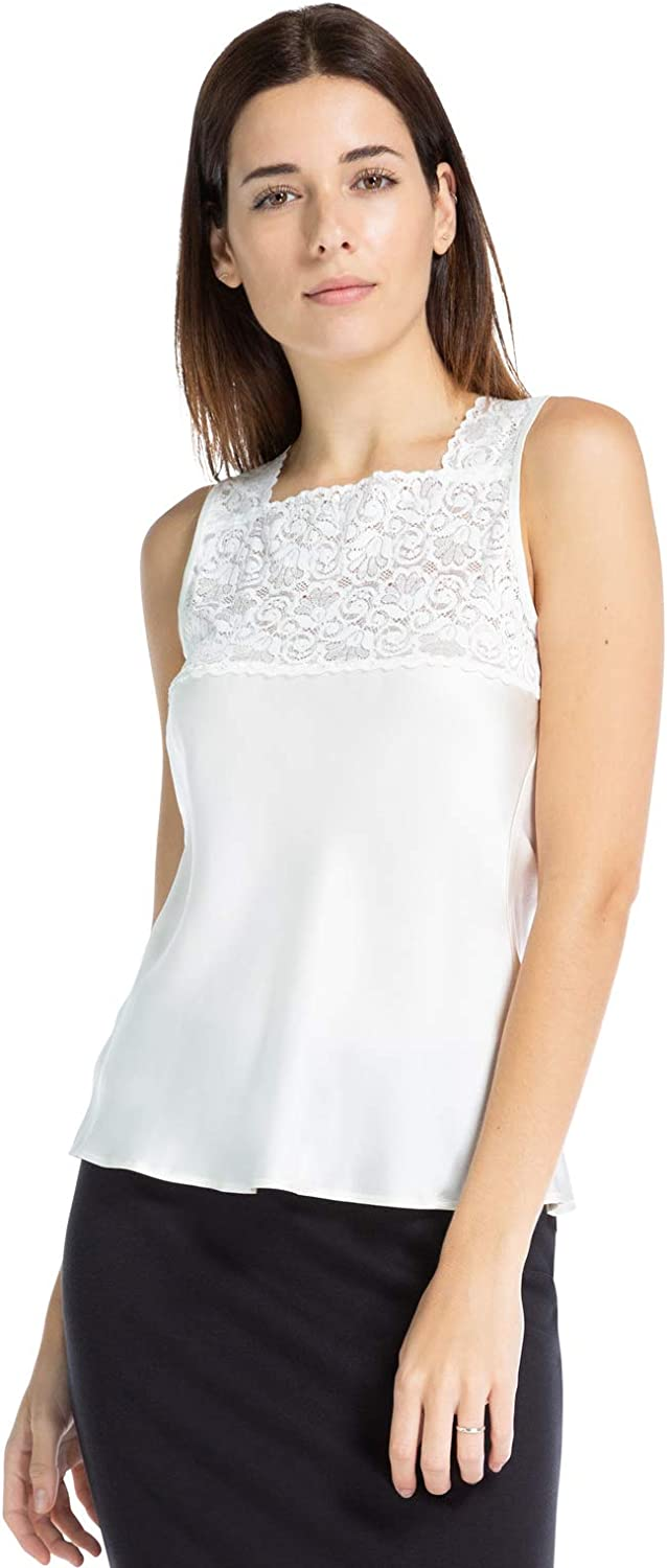 Fishers Finery Women's 100% Mulberry Silk Camisole with Lace Detail; High Neck