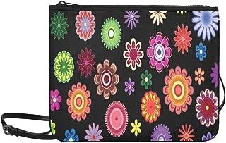 Seamless Pattern With Bright Flowers Over Black Pattern Custom High-grade Nylon Slim Clutch Bag Cross-body Bag Shoulder Bag