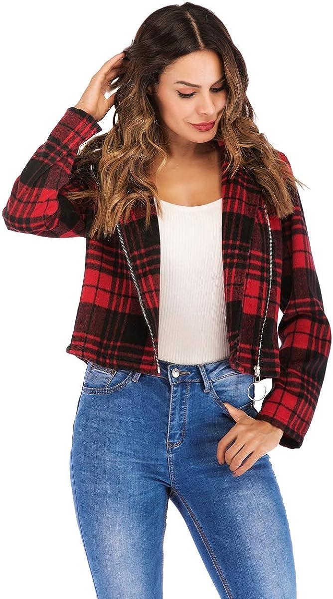 oversized Red Plaid Diagonal Zipper Jacket jacket