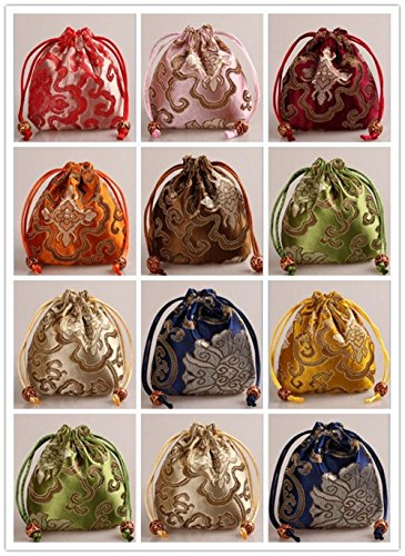 "2500 Silk Brocade Pouch Jewelry Travel Drawstring Coin Purse Bag H4""W4"" 12pcs/set SND001"