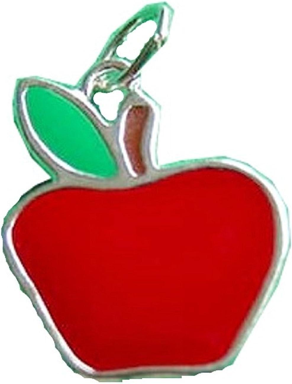 Sterling Finally popular brand Ranking TOP13 Silver Girls .8mm Box Pendant Chain Flat Enameled Apple