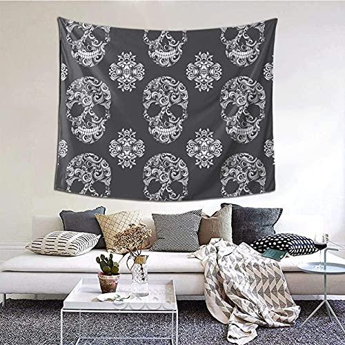 Tapiz para colgar en la pared, diseño de calavera vintage, para sala de estar, dormitorio, decoración del hogar, 152 x 130 cm
