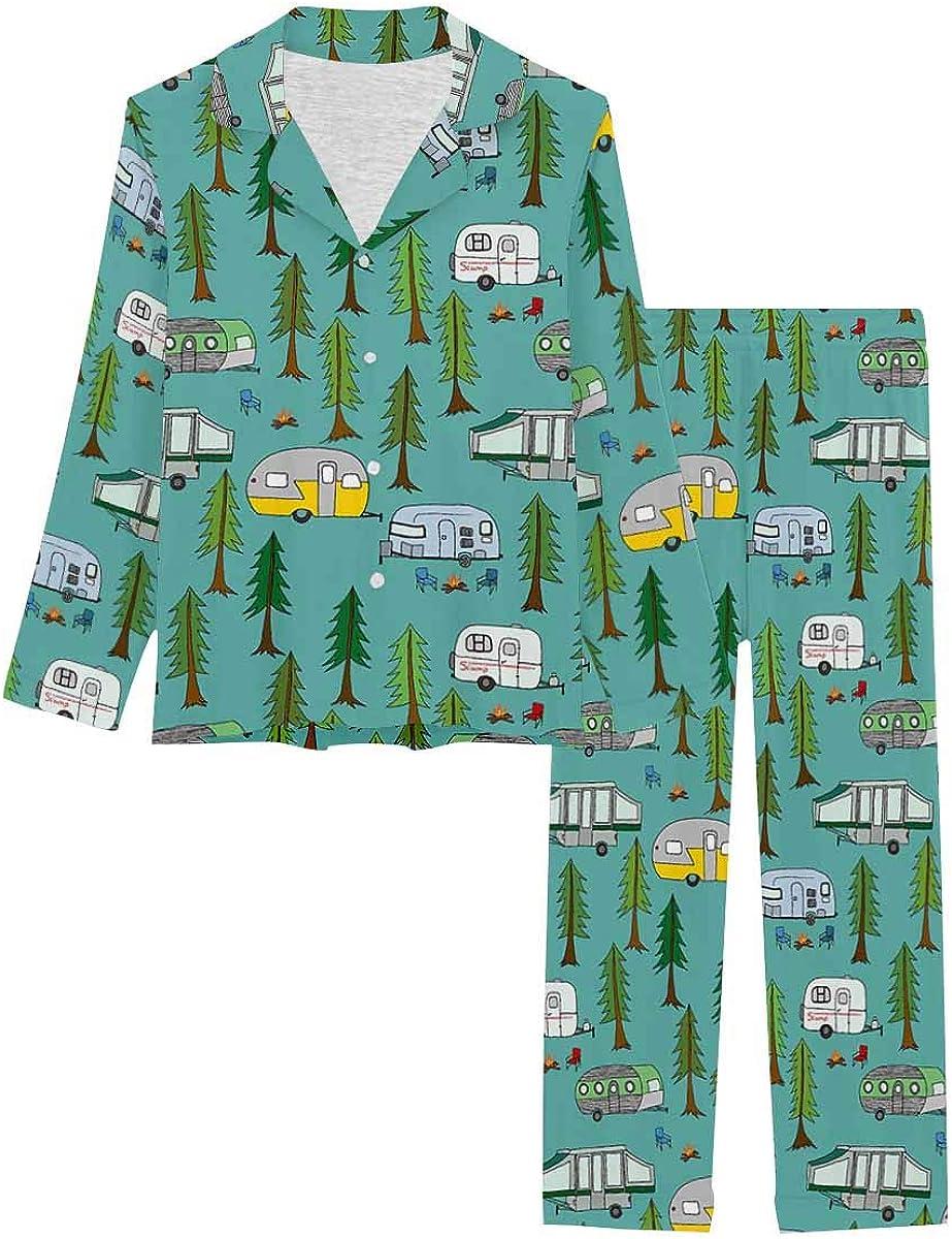 InterestPrint Button Down Nightwear Soft Long Sleeve Pj Set Happy Camper Bus