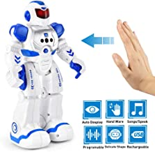 Flywind Smart RC Robot Toys for Kids, Singing Dancing Gesture Sensing Remote Control Robot Toy for Boys Girls Kids, Intelligent Programmable Led Humanoid Robot Toys for 4 5 6 7 8 9 12 Year Old, Blue