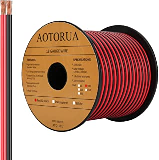 AOTORUA 100FT 18/2 Gauge Red Black Cable Hookup Electrical Wire, 18AWG 2 Conductor 2 Color Flexible Parallel Zip Wire LED ...