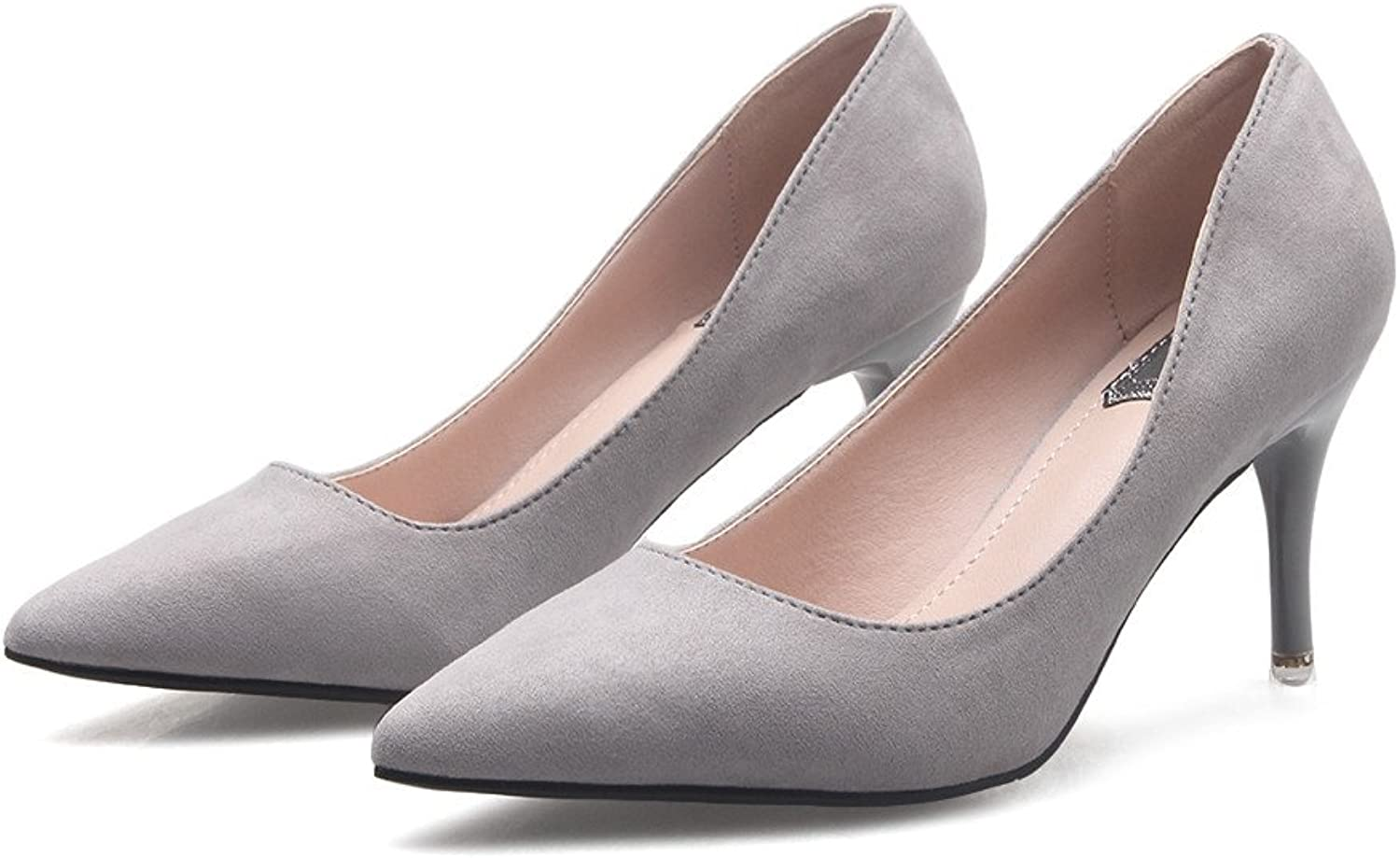 RUGAI-UE Pumps Low Heeled Spring Fashion Suede Ladies High Heels Heels Pointed Shallow shoes