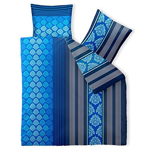 aqua-textil Trend Bettwäsche 200 x 200 cm 3teilig Baumwolle Bettbezug Nala Streifen Blumen Blau Weiß