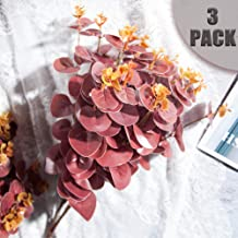 Toopify 3 PCS Artificial Eucalyptus Leaves Stems, Red Burgundy 18.9