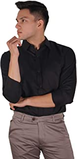 The Modern Darzi Men's Slim Fit Formal Twill Full Sleeves Shirt (S-XXL) (Black)