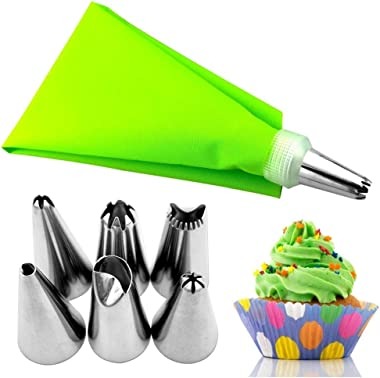 YSHG 8pcs/set Silicone Icing Piping Cream Pastry Bag Dessert Decorators Stainless Steel Nozzle Set DIY Cake Decorating Tips (