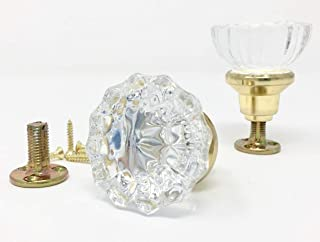 Rousso's Reproductions Crystal Antique Replica Surface Mount Dummy French Door Knob Set for One Side of Two Doors or Both Sides of One Door Also for Decorating Ideas with Faux Knobs (Polished Brass)
