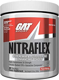 GAT - NITRAFLEX - Testosterone Boosting Powder, Increases Blood Flow, Boosts Strength and Energy, Improves Exercise Performance, Creatine-Free (Peach Mango, 30 Servings)