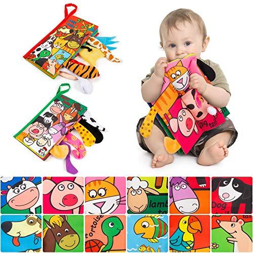 MOOKLIN ROAM 2 Pezzi Libri in Tessuto Morbido, Libro con Coda di Animal, Libri di Stoffa per Neonati, Libro Interattivo Giocattoli Educativi Regali per Bambino Neonatali (Cucciolo + Mucca)