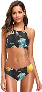 K0k2t0 Women's Printing High Neck Halter Two Piece Bikini Swimsuits,Solar System of Planets Milky Way Neptune Venus Mercury Sphere Sun Illustration Theme