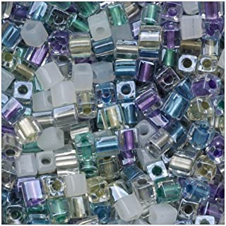 Beadaholique Miyuki 10gm Serenity Glass Cube Color Mix Beads, 4mm, Green/Purple